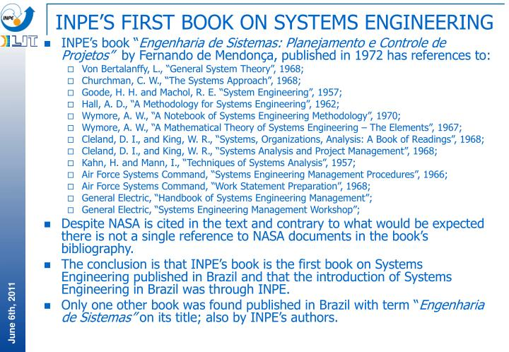 INPE'S FIRST BOOK ON SYSTEMS ENGINEERING