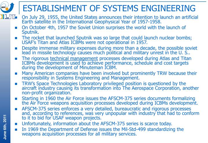 ESTABLISHMENT OF SYSTEMS ENGINEERING
