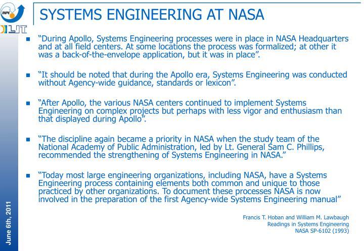 SYSTEMS ENGINEERING AT NASA