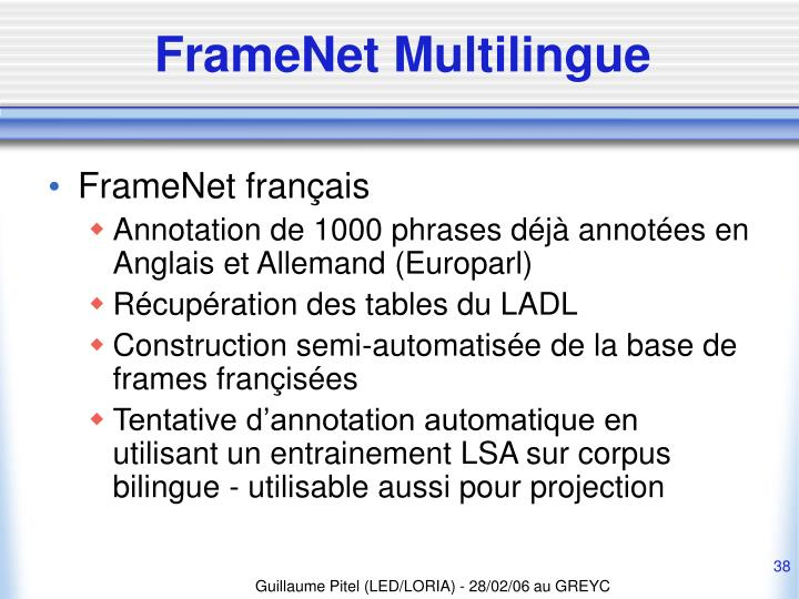 FrameNet Multilingue