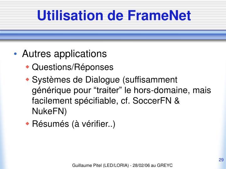 Utilisation de FrameNet