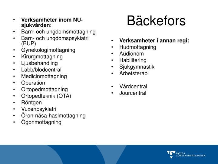 Verksamheter inom NU-sjukvården