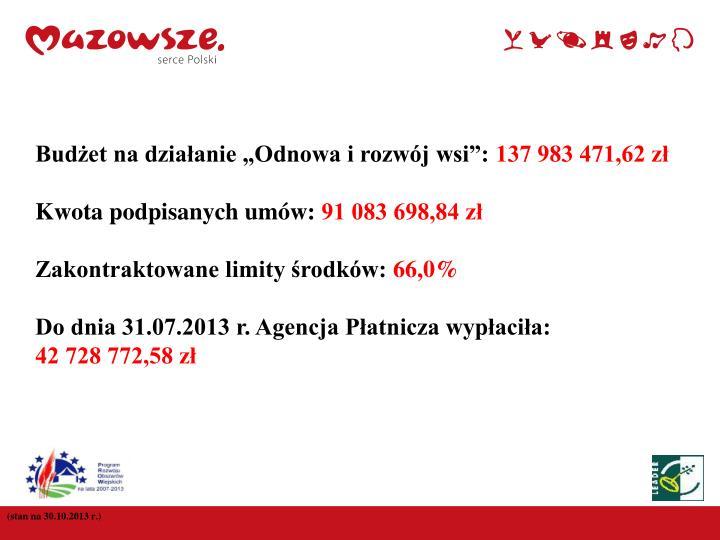 """Budżet na działanie """"Odnowa i rozwój wsi"""":"""