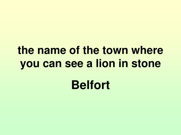 the name of the town where you can see a lion in stone