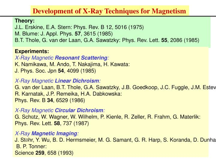 Development of X-Ray Techniques for Magnetism