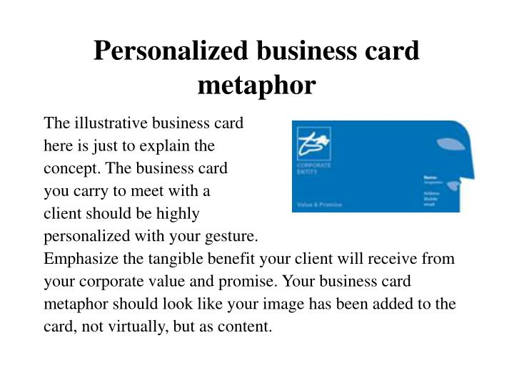 Personalized business card metaphor