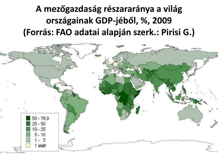 A mezőgazdaság részararánya a világ országainak GDP-jéből, %, 2009