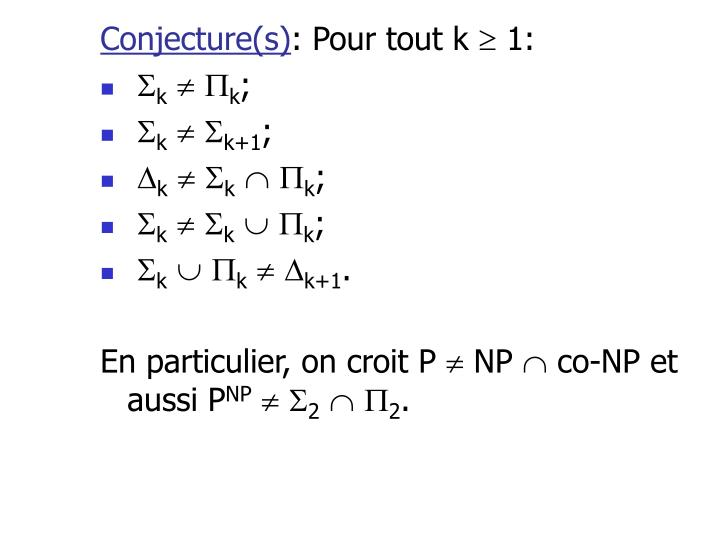 Conjecture(s)