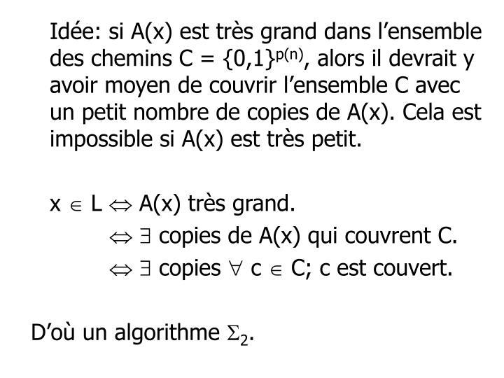 Idée: si A(x) est très grand dans l'ensemble des chemins C = {0,1}