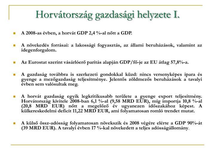Horvátország gazdasági helyzete I.