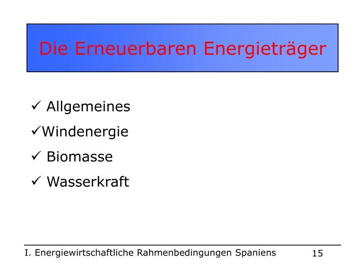 Die Erneuerbaren Energieträger