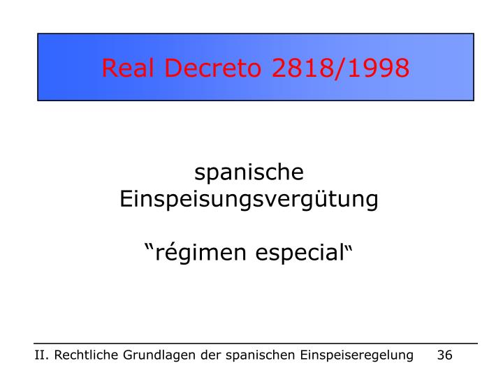 Real Decreto 2818/1998