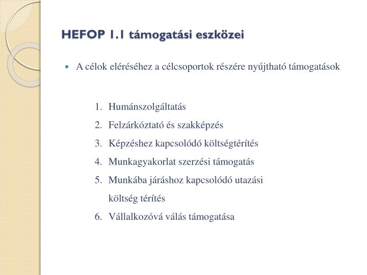 HEFOP 1.1 támogatási eszközei