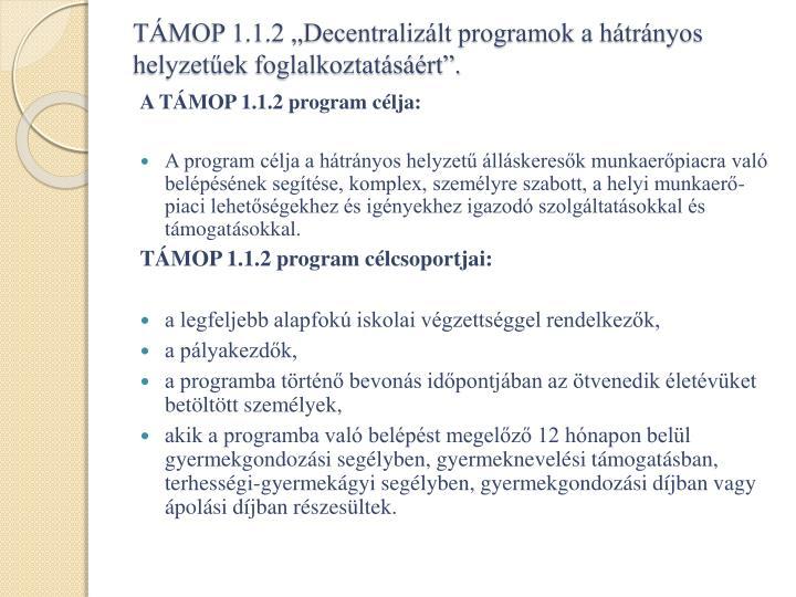 """TÁMOP 1.1.2 """"Decentralizált programok a hátrányos helyzetűek foglalkoztatásáért""""."""