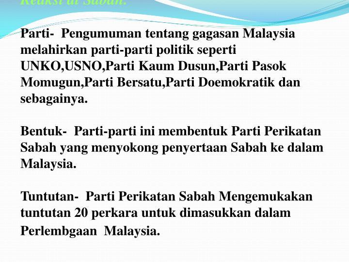 Reaksi di Sabah.