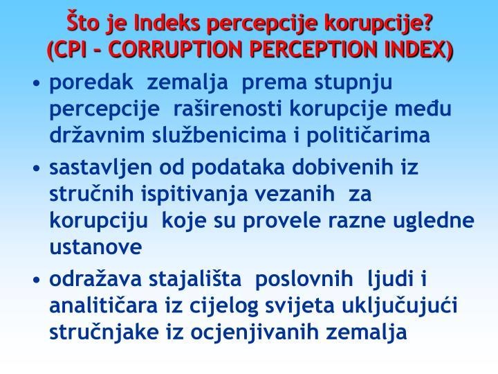 Što je Indeks percepcije korupcije?