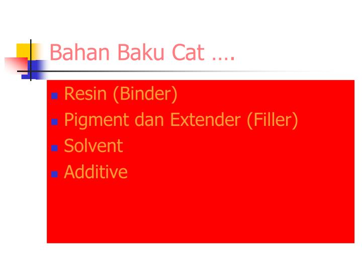 Bahan Baku Cat ….