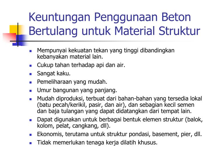 Keuntungan Penggunaan Beton Bertulang untuk Material Struktur
