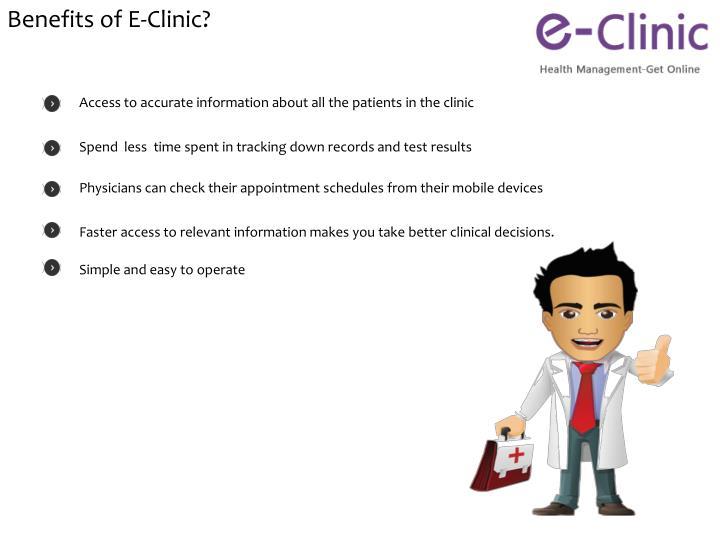Benefits of E-Clinic