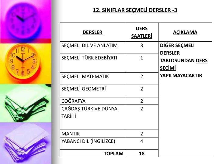 12. SINIFLAR SEÇMELİ DERSLER -3