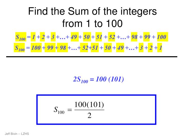 Find the Sum of the integers