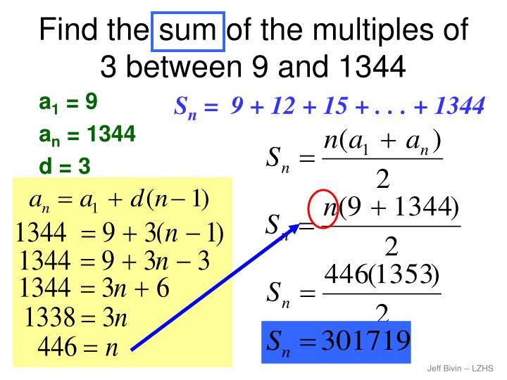 Find the sum of the multiples of 3 between 9 and 1344