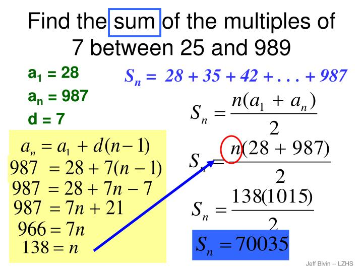 Find the sum of the multiples of 7 between 25 and 989