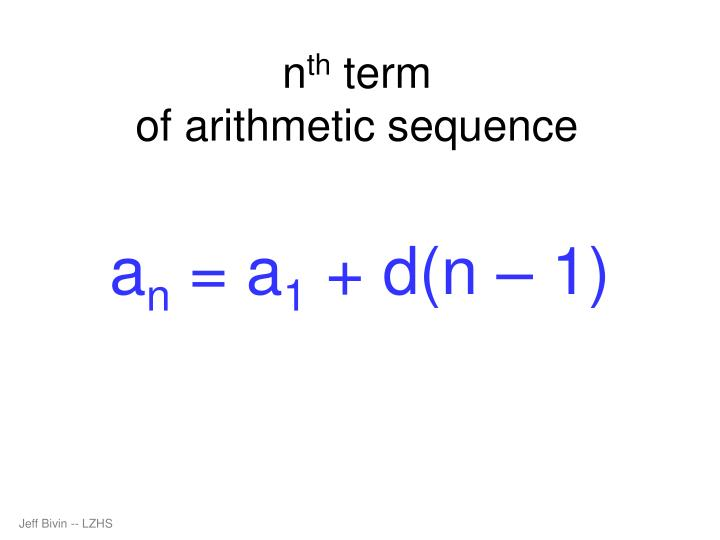 N th term of arithmetic sequence