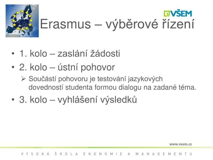Erasmus – výběrové řízení