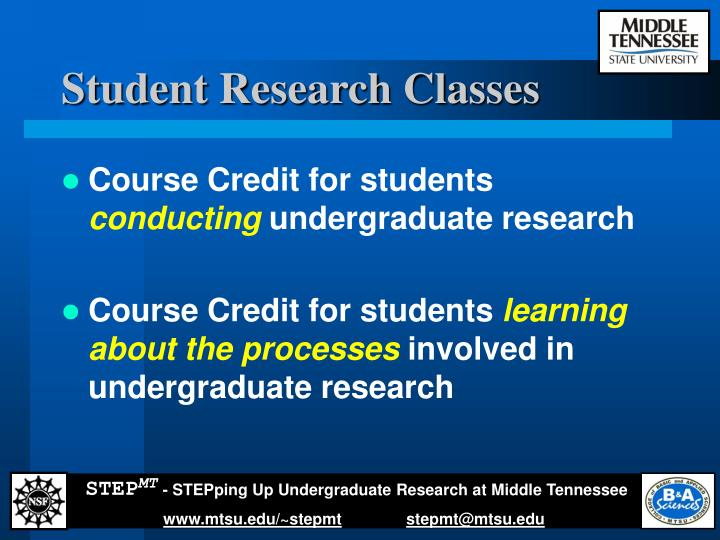 Student Research Classes