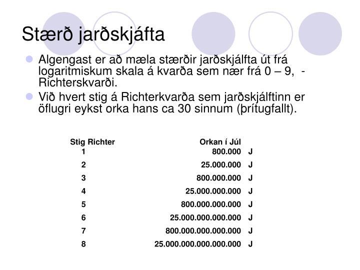 Stærð jarðskjáfta