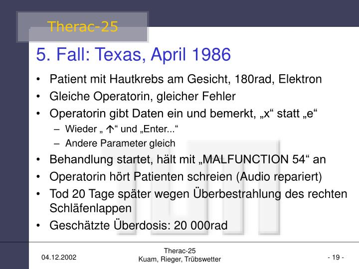 5. Fall: Texas, April 1986