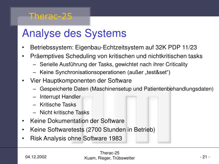 Analyse des Systems