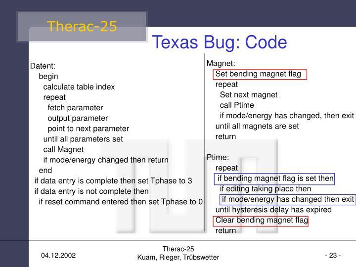 Texas Bug: Code