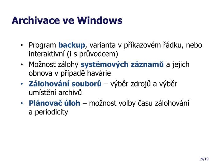 Archivace ve Windows