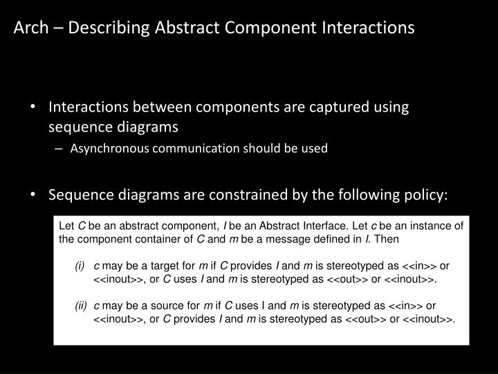 Arch – Describing Abstract Component Interactions