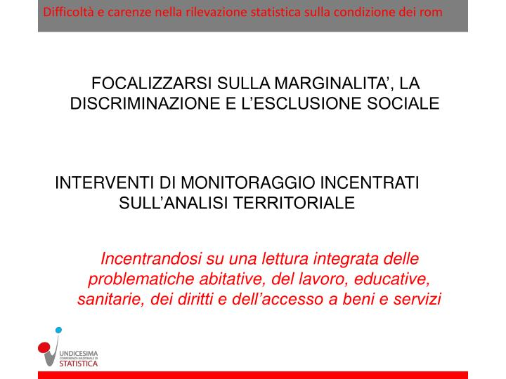 Difficoltà e carenze nella rilevazione statistica sulla condizione dei rom