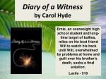 diary of a witness by carol hyde