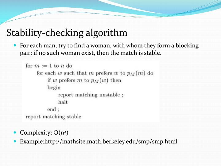 Stability-checking algorithm