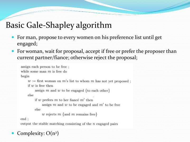 Basic Gale-Shapley algorithm