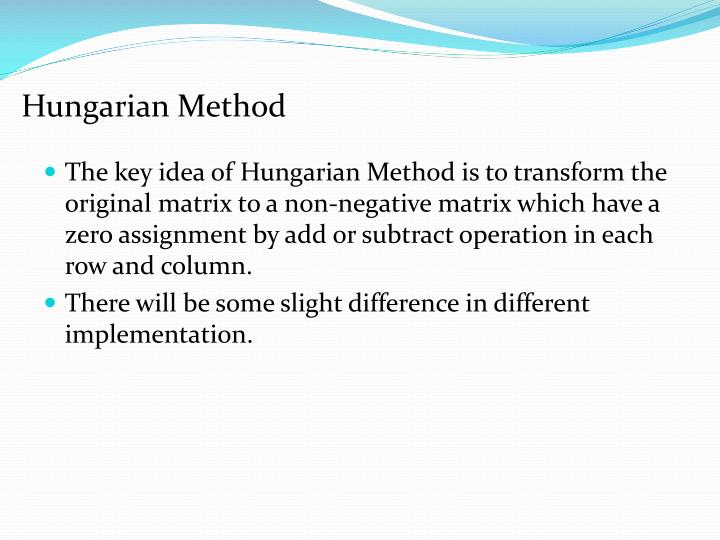 Hungarian Method