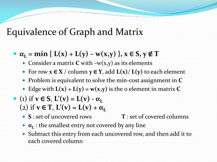 Equivalence of Graph and Matrix