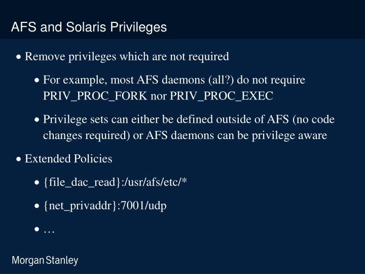 AFS and Solaris Privileges
