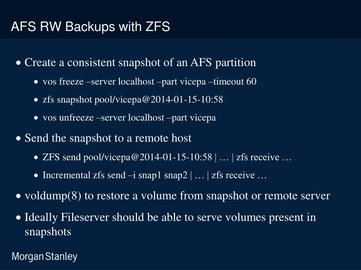 AFS RW Backups with ZFS