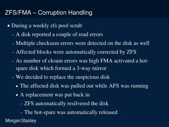 ZFS/FMA – Corruption Handling