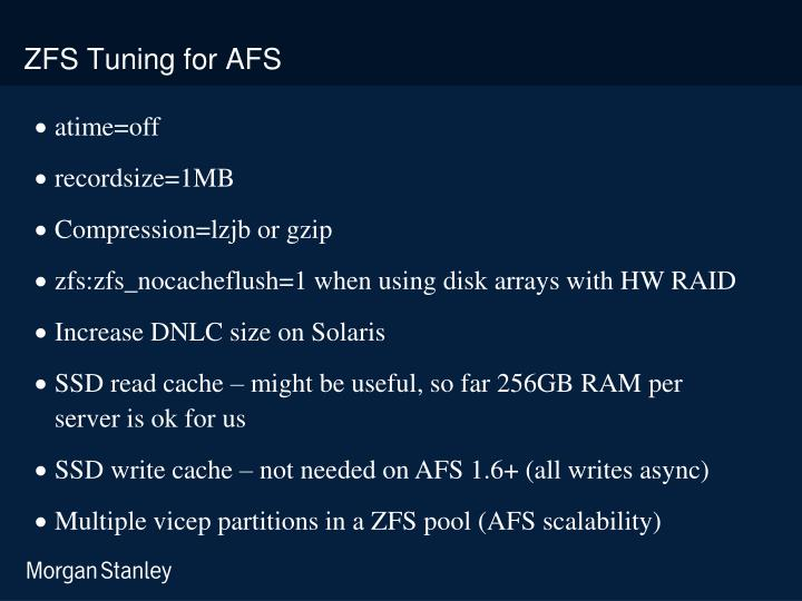 ZFS Tuning for AFS