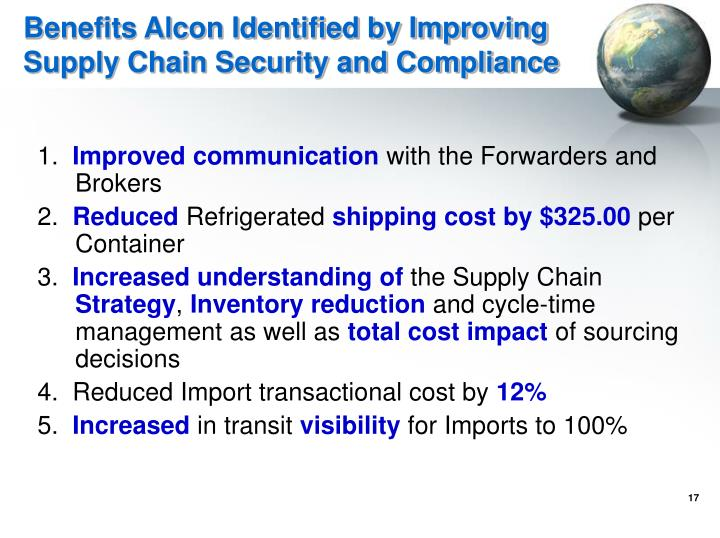 Benefits Alcon Identified by Improving Supply Chain Security and Compliance