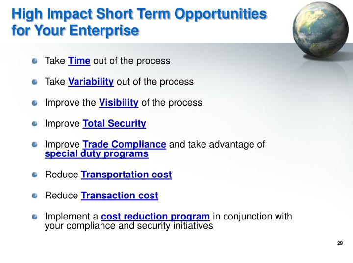 High Impact Short Term Opportunities for Your Enterprise