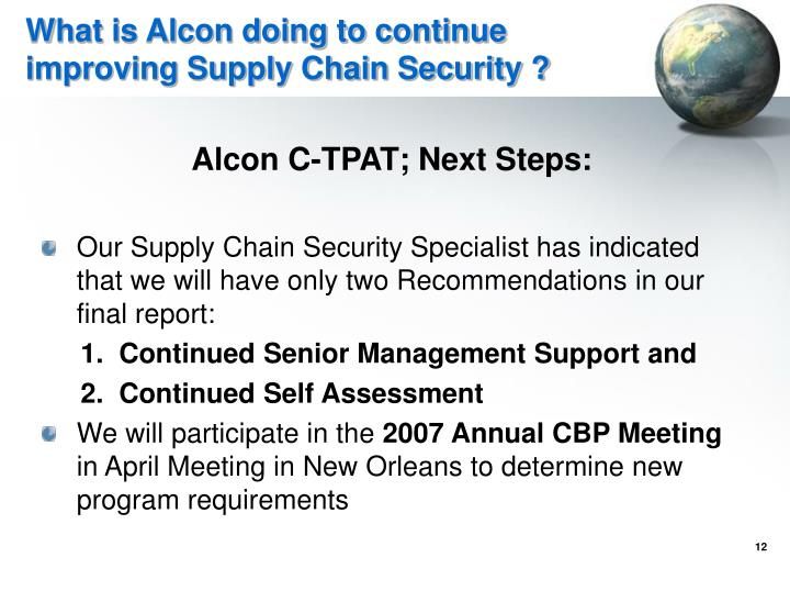 What is Alcon doing to continue improving Supply Chain Security ?