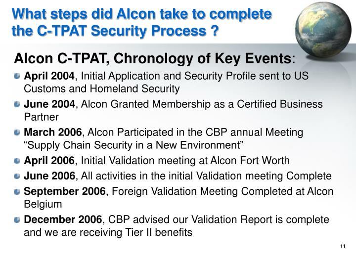 What steps did Alcon take to complete the C-TPAT Security Process ?